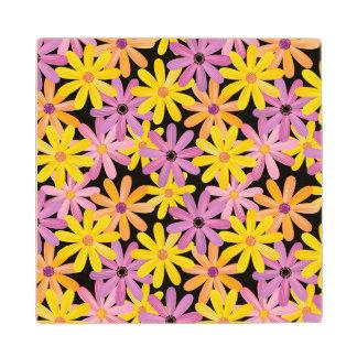 Gerbera flowers pattern, background wood coaster