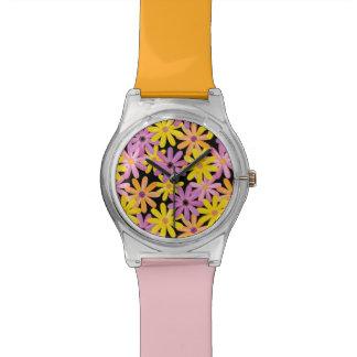 Gerbera flowers pattern, background wristwatches