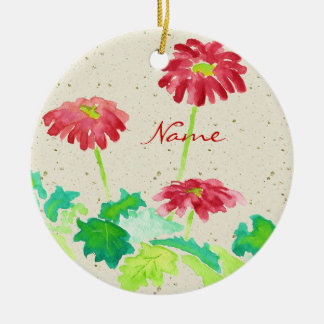 Gerbera Watercolor Painting Red Green Washi Paper Round Ceramic Decoration