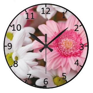 Gerberas And Chrysanthemums Large Clock