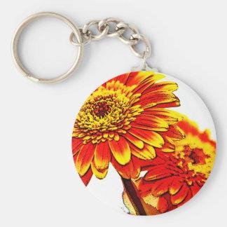Gerberas Basic Round Button Key Ring