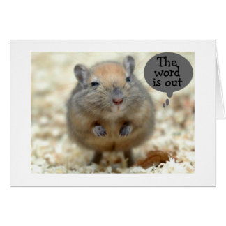 "GERBIL SAYS ""THE WORD IS OUT"" GROUP BIRTHDAY CARD"