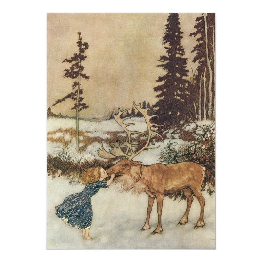 Gerda and the Reindeer by Dulac Christmas Party Card