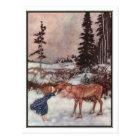 Gerda and the Reindeer by Edmund Dulac Postcard