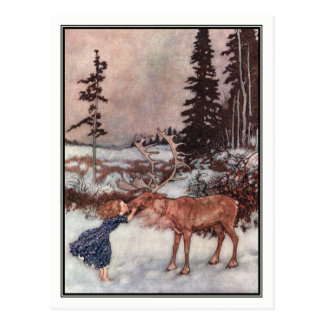 Gerda and the Reindeer by Edmund Dulac Postcard