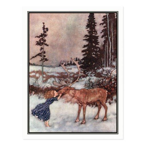'Gerda And The Reindeer By Edmund Dulac Postcard