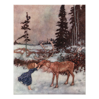 Gerda and the Reindeer by Edmund Dulac Poster