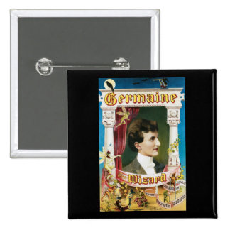 Germaine The Wizard ~ Magician Vintage Magic Act 15 Cm Square Badge