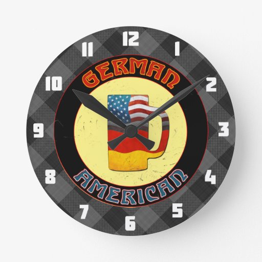 German American Beer Stein Round Clock