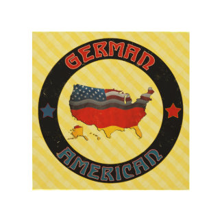 German American Flags Map Wood Canvases