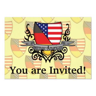 German-American Shield Flag 13 Cm X 18 Cm Invitation Card