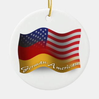 German-American Waving Flag Christmas Ornament