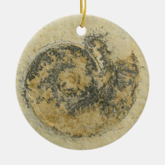 German Ammonite with Dendrites Christmas Ornament