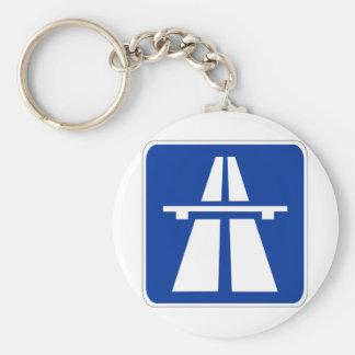 German Autobahn Sign Basic Round Button Key Ring