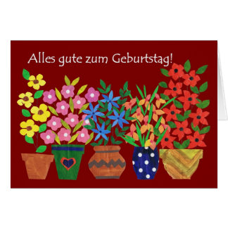 German Birthday Card - Flower Power!