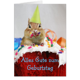 German Birthday Chipmunk Card