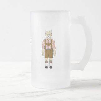 German Cats in Pink and Golden Brown Frosted Glass Beer Mug