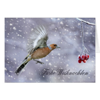 German Christmas Card With Chaffinch Winter Scener