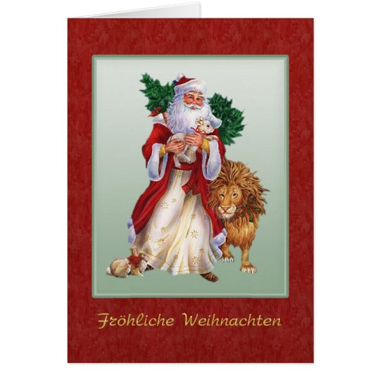 German Christmas - St.Nicolas, lion, rabbit Card