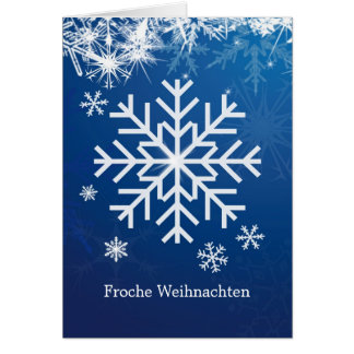 German Christmas - white snowflakes on blue Card