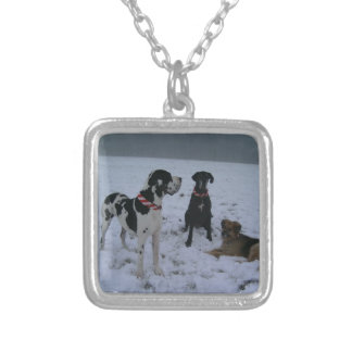 German Dogge, great dane, Hunde, Weihnachten Silver Plated Necklace