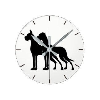 German Dogge kupiert clock black-and-white