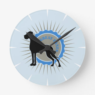German Dogge on blue elegant Round Clock