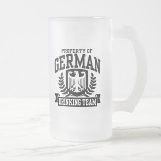 German Drinking Team Frosted Glass Beer Mug