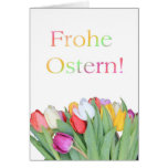 German Easter card - Frohe Ostern tulip bouquet