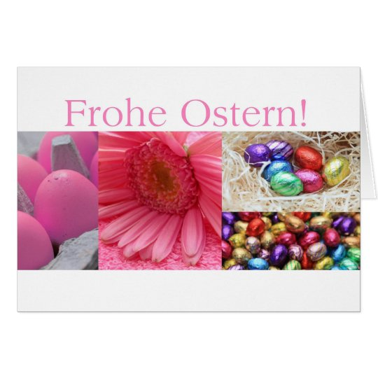 German Easter Greeting Pink Collage Card