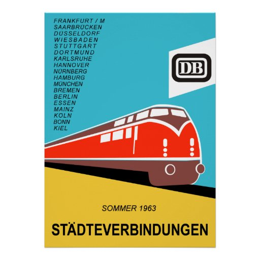 German Federal Railways vintage travel poster