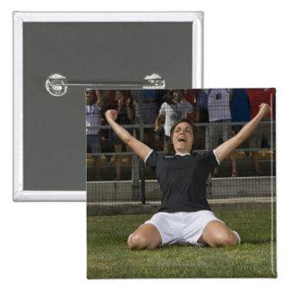 German female soccer player celebrating goal 15 cm square badge