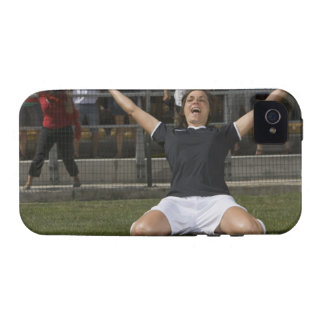 German female soccer player celebrating goal iPhone 4/4S cases