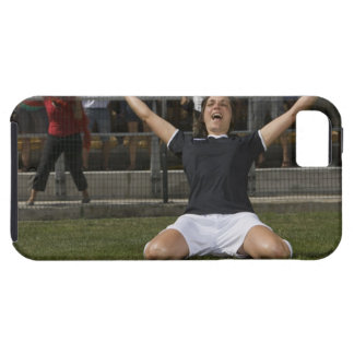 German female soccer player celebrating goal iPhone 5 case