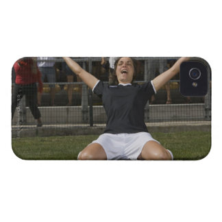 German female soccer player celebrating goal iPhone 4 case