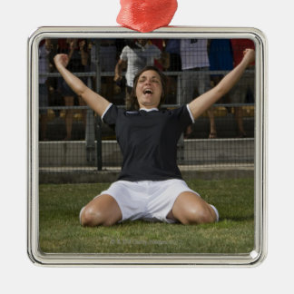 German female soccer player celebrating goal Silver-Colored square decoration