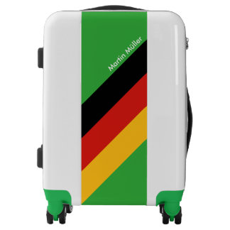 GERMAN FLAG COLORS stripes + your Name Luggage