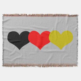 German Flag Hearts Throw Blanket