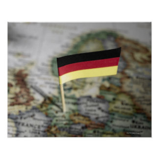 German flag in map poster