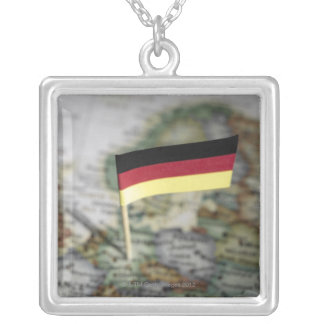 German flag in map silver plated necklace
