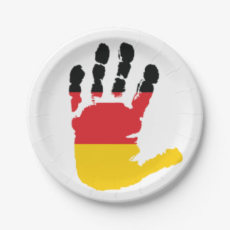 German Flag On A Hand Paper Plates