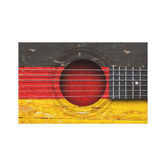 German Flag on Old Acoustic Guitar Gallery Wrap Canvas
