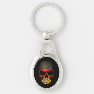 German Flag Skull on Black Silver-Colored Oval Key Ring