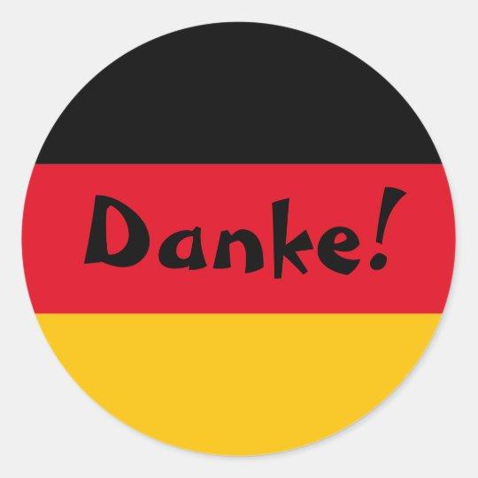 German Flag Thank You Danke Classic Round Sticker