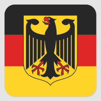 German Flag with Crest Sticker (Square)
