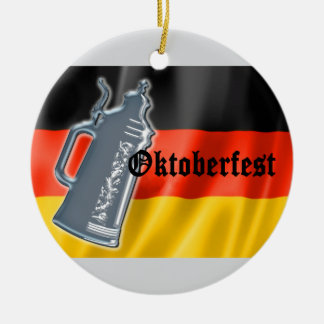 German Flag with Oktoberfest and Pewter Beer Stein Christmas Ornament