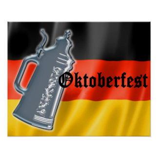 German Flag with Oktoberfest and Pewter Beer Stein Poster
