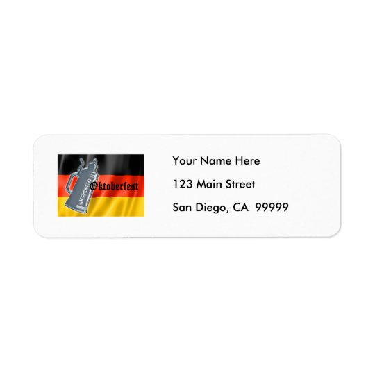 German Flag with Oktoberfest and Pewter Beer Stein Return Address Label