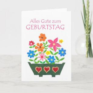 German Flower Power Birthday Card