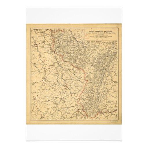 German-French Border Countries by G Lang Metz 1887 Custom Invitations